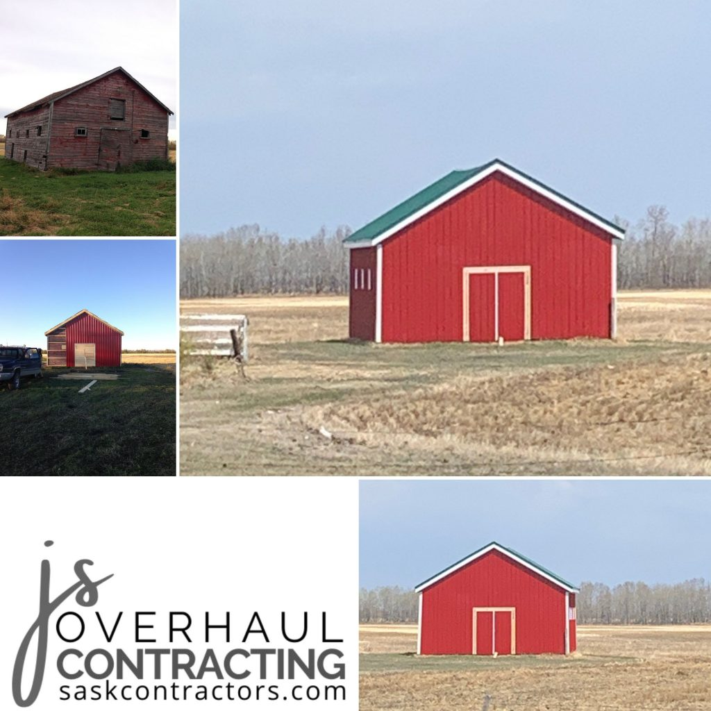 This barn overhaul included straightening, replacing windows and doors. Completed with metal exterior sheeting and roofing, soffit and fascia.